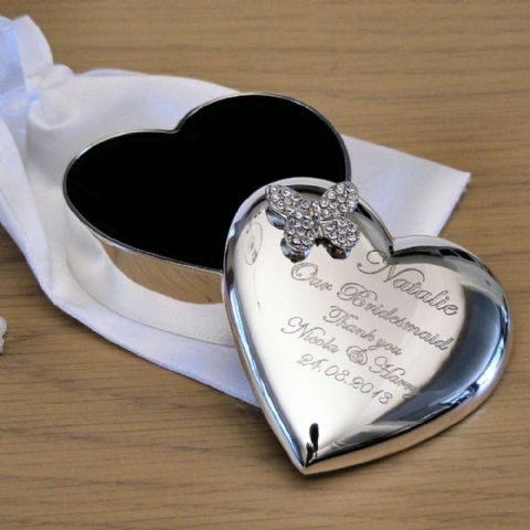 Personalised Heart Trinket Box with Crystal Butterfly and Silk Bag